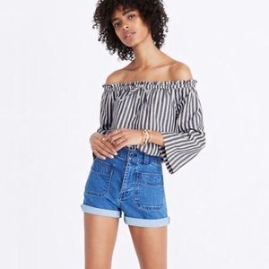 Madewell Off Shoulder Blue & White Striped Top